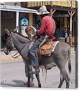 Prospector Re-enactor With Fan Allen Street Tombstone Arizona 200 Acrylic Print