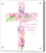 Psalm 46 5 Cross- Art By Linda Woods Acrylic Print