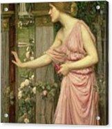 Psyche Entering Cupid's Garden Acrylic Print by John William Waterhouse
