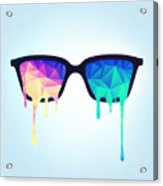 Psychedelic Nerd Glasses With Melting Lsd Trippy Color Triangles Acrylic Print
