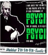 Psycho, Director Alfred Hitchcock Acrylic Print by Everett