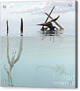 Pteranodon Pterosaur Diving Underwater Acrylic Print