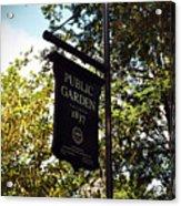 Public Garden 1837 Boston Acrylic Print