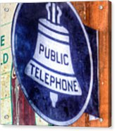 Public Telephone Sign Acrylic Print