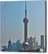 Pudong Shanghai Oriental Perl Tower Acrylic Print by Christine Till