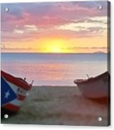 Puerto Rico Sunset On The Beach Acrylic Print