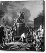 Pulling Down The Statue Of George IIi Acrylic Print by War Is Hell Store
