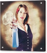 Pump Action Pin Up Woman Killing Glass Grime Acrylic Print