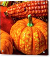 Pumpkin Corn Still Life Acrylic Print