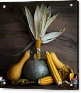 Pumpkin, Corncob, Autumn Leaves And Burning Candles Decoration O Acrylic Print