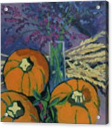 Pumpkins And Wheat Acrylic Print by Erin Fickert-Rowland