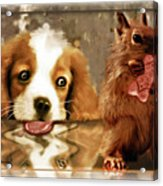 Pup And Squirrel Acrylic Print