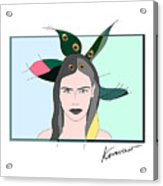 Pure Elixir- Beautiful Woman Portrait Minimalist Drawing Acrylic Print