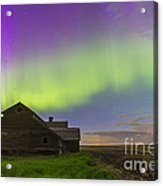 Purple Aurora Over An Old Barn Acrylic Print