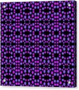 Purple Dots Pattern On Black Acrylic Print