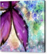Purple Flower Watercolor Doodle Acrylic Print