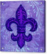 Purple French Fleur De Lys, Floral Swirls Acrylic Print