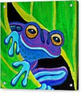 Purple Frog Peeking Through Acrylic Print