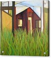 Purple House In A Green Field Acrylic Print