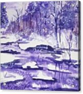 Purple Ice On Kaaterskill Creek Acrylic Print