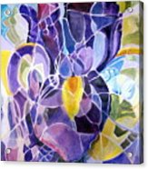 Purple Irises Acrylic Print by Therese AbouNader