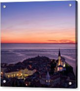 Purple Light On The Adriatic Sea After Sundown With Lights On Pi Acrylic Print