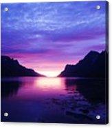 Purple Nordic Fjordland Sunset Acrylic Print