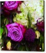 Purple Roses With Hydrangea Acrylic Print