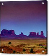 Purple Sunset In Monument Valley Acrylic Print