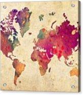 Purple World Map Watercolor Print  Acrylic Print