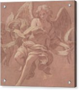Putto And Angel Holding A Banderole, 1706  Acrylic Print