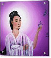 Quan Yin With Three Dragonflies Acrylic Print