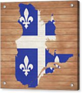 Quebec Rustic Map On Wood Acrylic Print