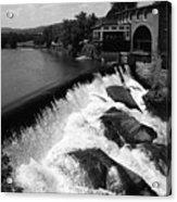 Quechee, Vermont - Falls 3 Bw Acrylic Print