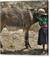 Quechua Girl Hugging His Donkey. Republic Of Bolivia. Acrylic Print