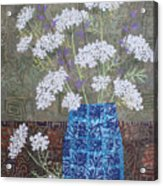 Queen Anne's Lace In Blue Vase Acrylic Print