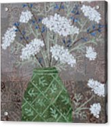 Queen Anne's Lace In Green Vase Acrylic Print