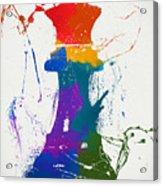 Queen Chess Piece Paint Splatter Acrylic Print