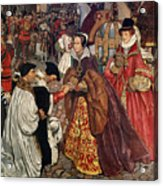 Queen Mary And Princess Elizabeth Entering London Acrylic Print by John Byam Liston Shaw