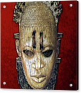 Queen Mother Idia - Ivory Hip Pendant Mask - Nigeria - Edo Peoples - Court Of Benin On Red Velvet Acrylic Print by Serge Averbukh
