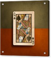 Queen Of Spades In Wood Acrylic Print