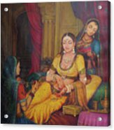Queen Princess Sitting  Dressing From Her Maids Kaneej  Royal Art Oil Painting On Canvas Acrylic Print