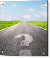 Question Mark Symbol On Long Empty Straight Road Acrylic Print