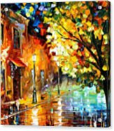 Quiet Corner-garden On The Stones - Palette Knife Oil Painting On Canvas By Leonid Afremov Acrylic Print