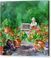Quiet Moment Reading In The Garden Acrylic Print