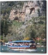 Quintessentially Dalyan River Boats And Rock Tombs Acrylic Print