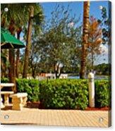 Quite Corner In Weston Florida Acrylic Print
