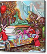 Rabbits Selling Ice Cream From A Hearse Acrylic Print