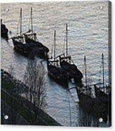 Rabelo Boats On Douro River In Portugal Acrylic Print