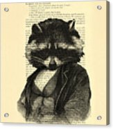 Raccoon Portrait, Animals In Clothes Acrylic Print